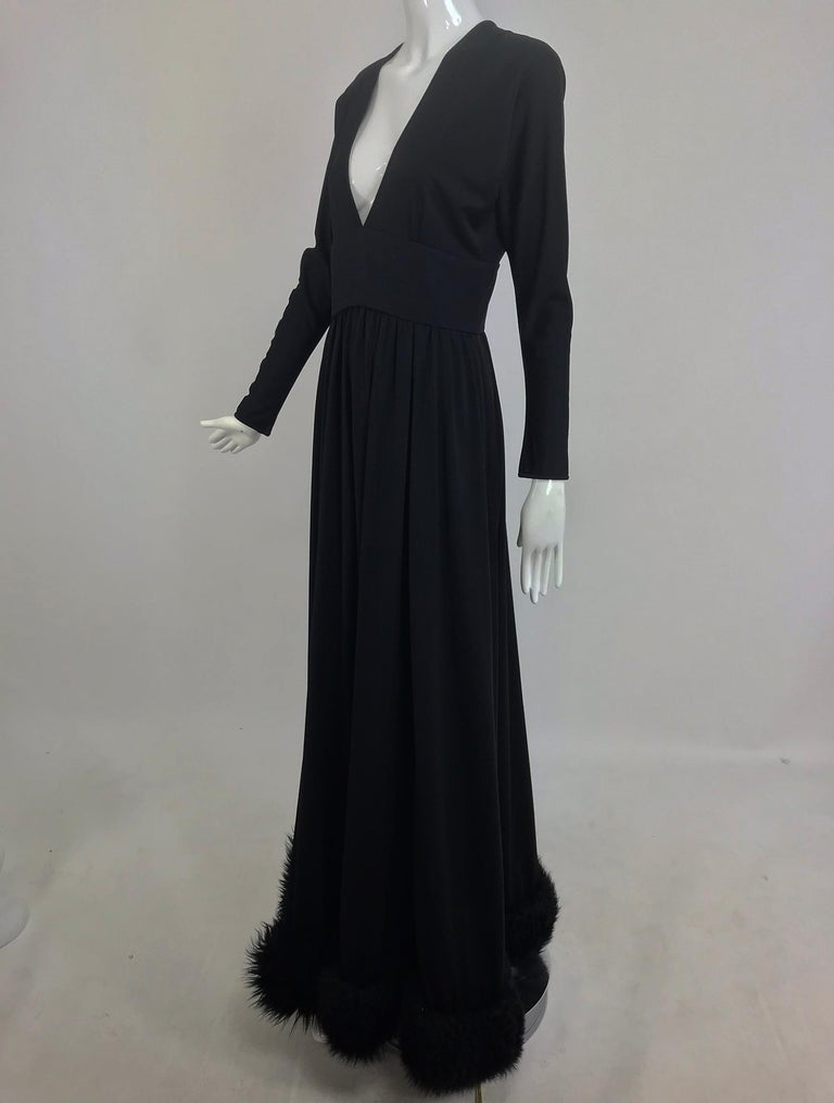 Women's Lillie Rubin Black Fur Hem Plunge Neck Black Jersey Maxi Dress 1970s For Sale