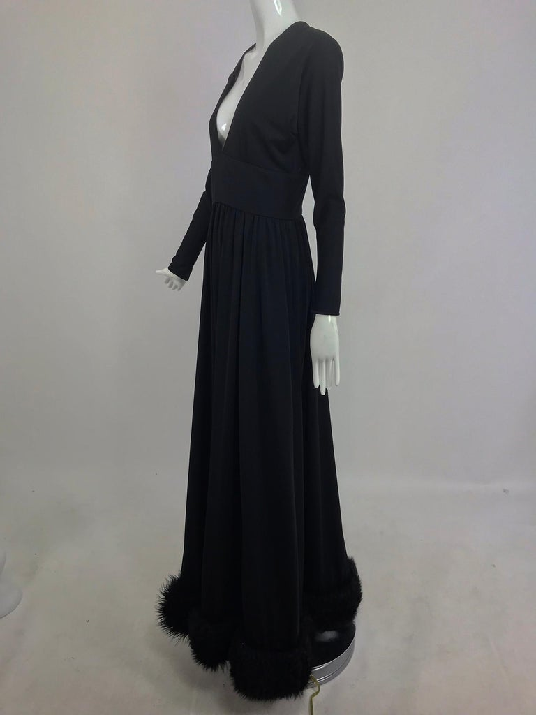 Lillie Rubin Black Fur Hem Plunge Neck Black Jersey Maxi Dress 1970s For Sale 1