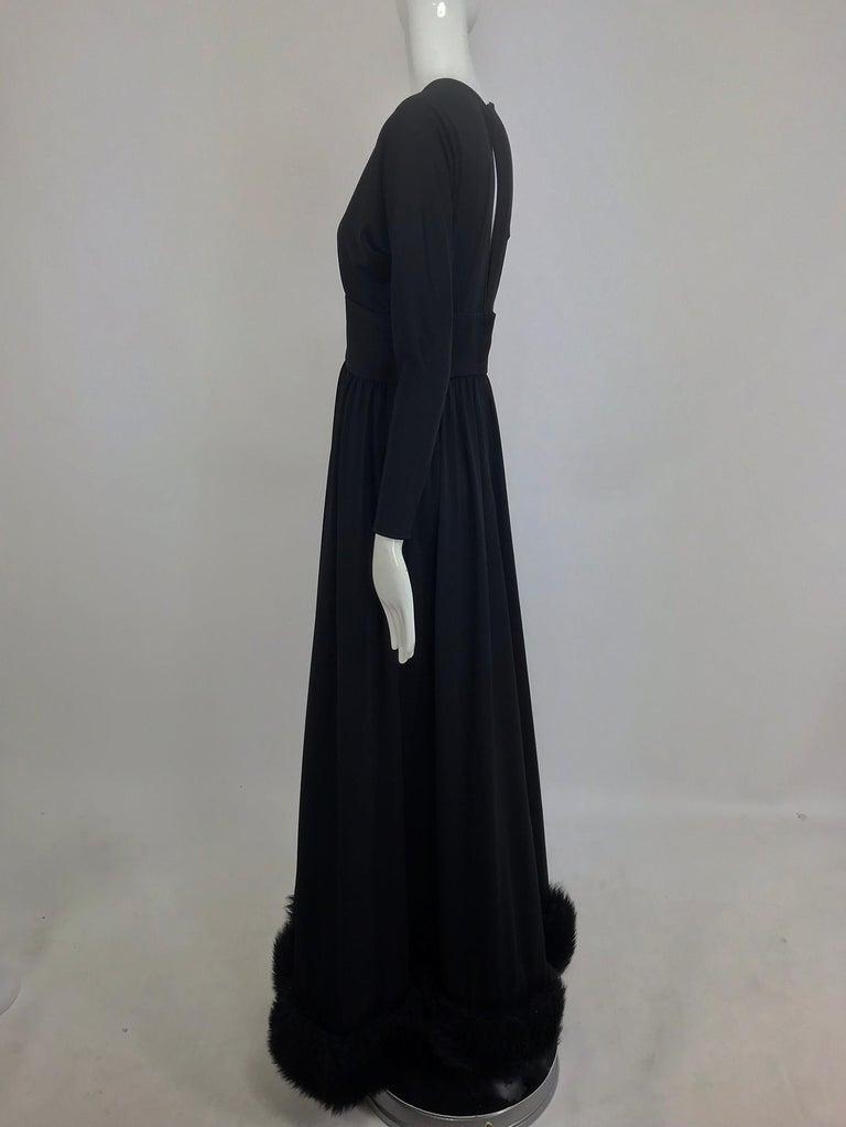 Lillie Rubin Black Fur Hem Plunge Neck Black Jersey Maxi Dress 1970s For Sale 2