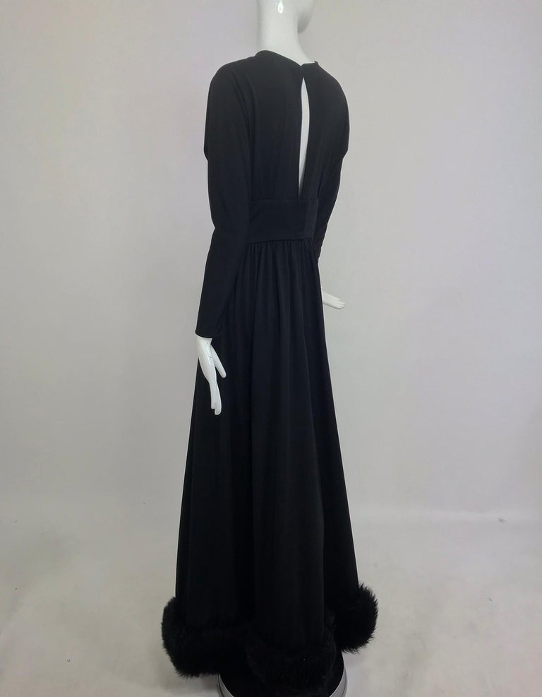 Lillie Rubin Black Fur Hem Plunge Neck Black Jersey Maxi Dress 1970s For Sale 3
