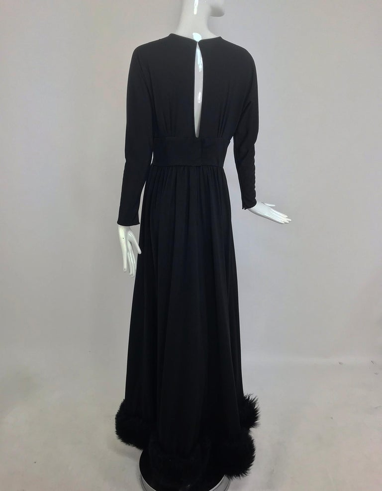 Lillie Rubin Black Fur Hem Plunge Neck Black Jersey Maxi Dress 1970s For Sale 4