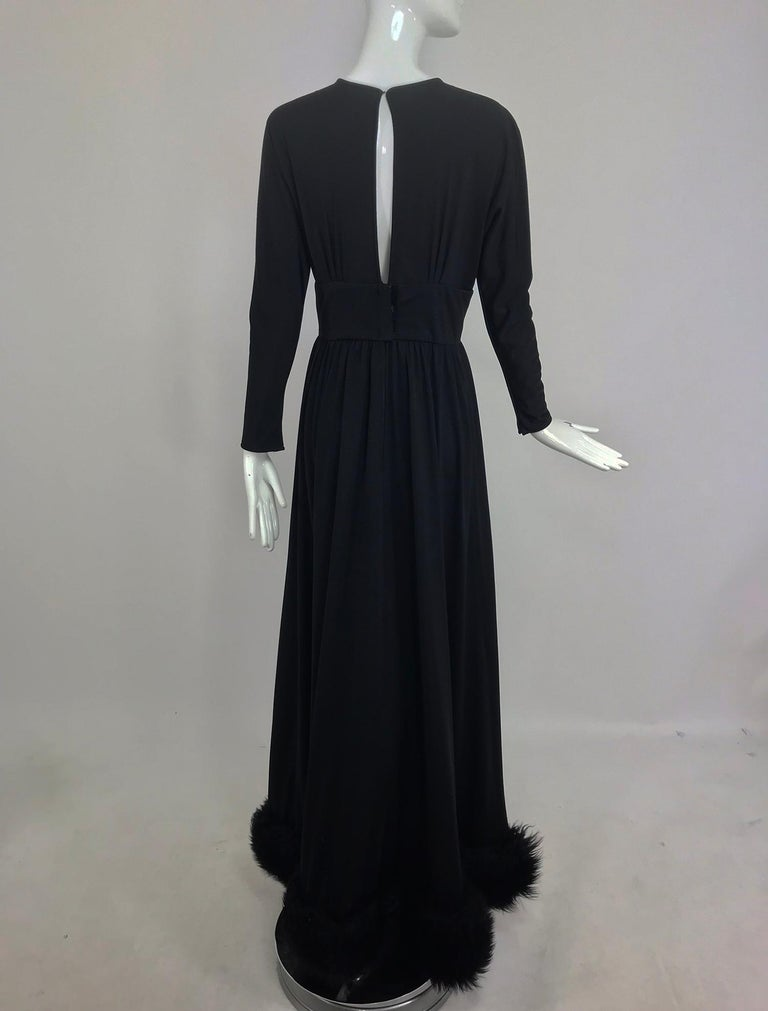 Lillie Rubin Black Fur Hem Plunge Neck Black Jersey Maxi Dress 1970s For Sale 5