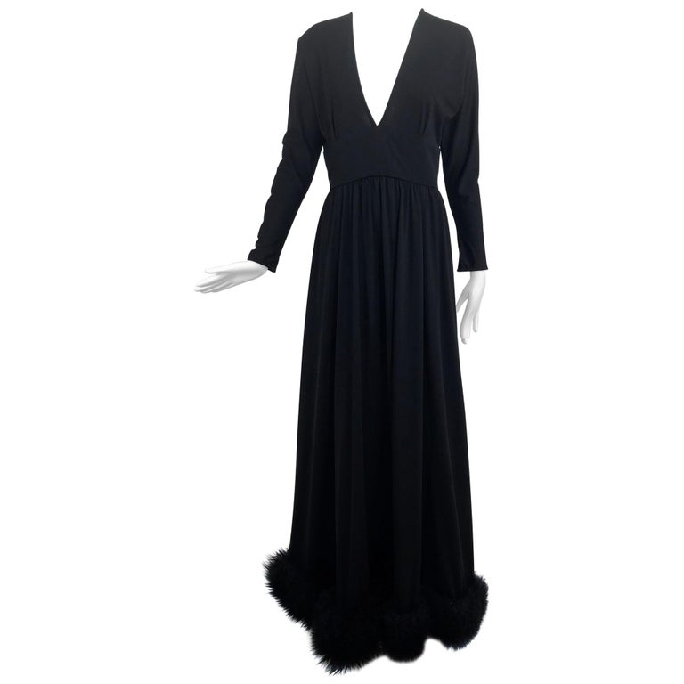 Lillie Rubin Black Fur Hem Plunge Neck Black Jersey Maxi Dress 1970s For Sale
