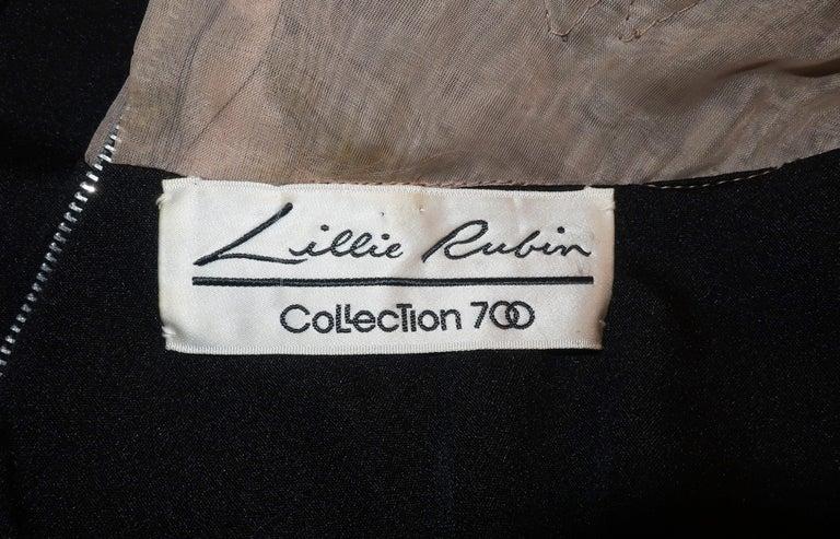 Lillie Rubin Black Jersey Nude Illusion Maxi Evening Dress, C.1970 For Sale 7