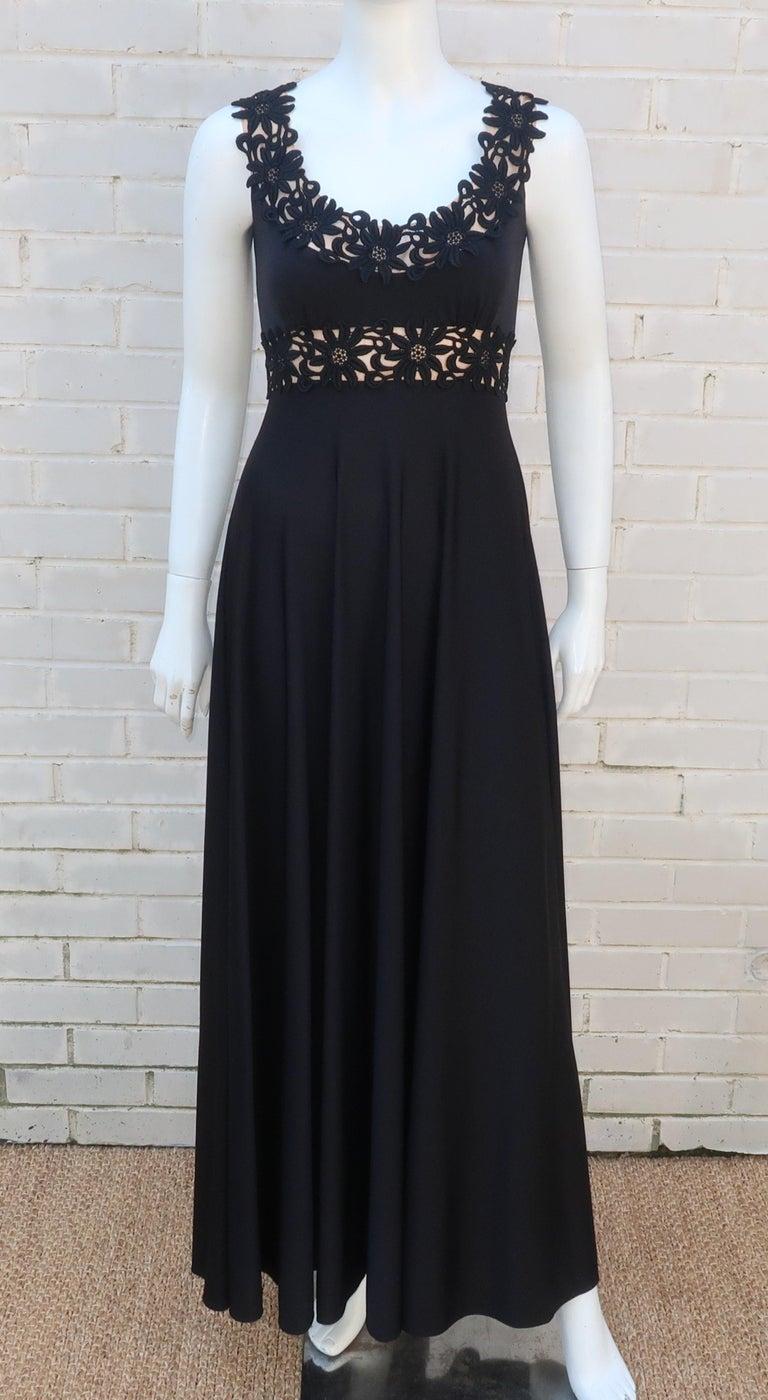 Women's Lillie Rubin Black Jersey Nude Illusion Maxi Evening Dress, C.1970 For Sale