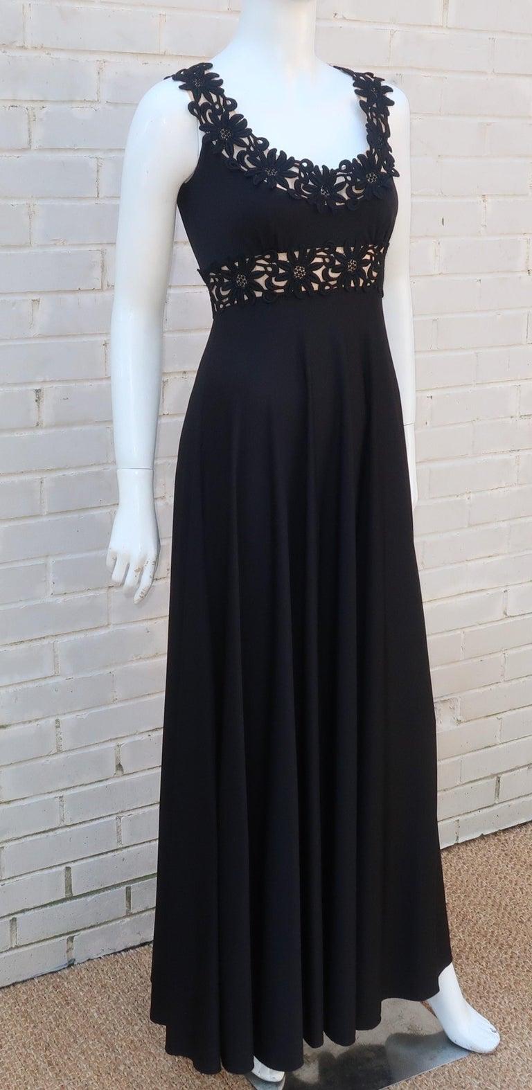 Lillie Rubin Black Jersey Nude Illusion Maxi Evening Dress, C.1970 For Sale 4