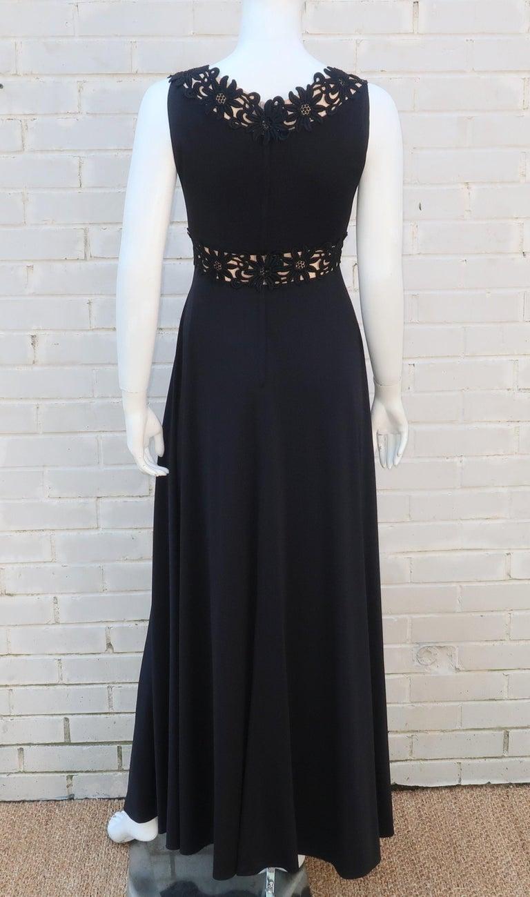 Lillie Rubin Black Jersey Nude Illusion Maxi Evening Dress, C.1970 For Sale 5