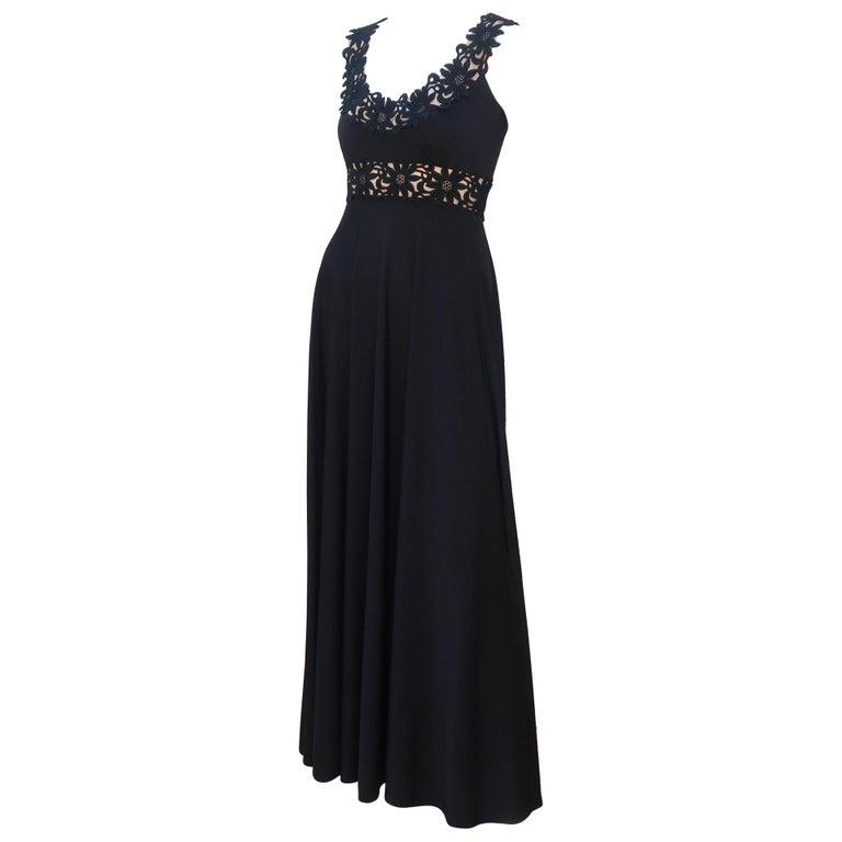 Lillie Rubin Black Jersey Nude Illusion Maxi Evening Dress, C.1970 For Sale