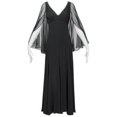 Lillie Rubin Black Sheer Angel Wing Gown with Rhinestone Plunge - Small, 1960s