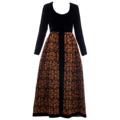 Lillie Rubin Black Silk Velvet Copper Quilted Skirt Evening Dress, Circa: 1970's
