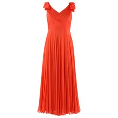 LILLIE RUBIN c.1960's Coral Silk Chiffon Empire Waist Surplice Maxi Dress Gown