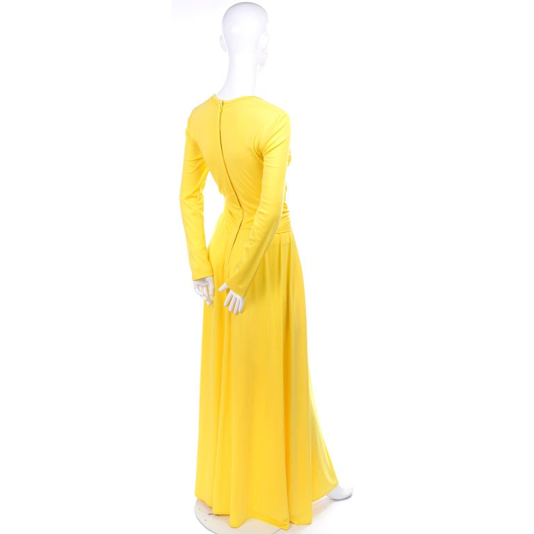 Lillie Rubin Collection 700 Vintage Dress in Yellow Jersey With Sash For Sale 1
