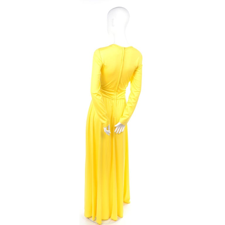 Lillie Rubin Collection 700 Vintage Dress in Yellow Jersey With Sash For Sale 2
