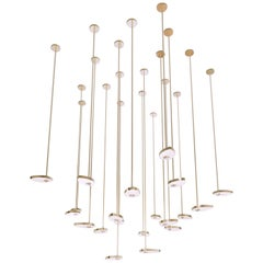 Lilly 1 Contemporary LED Chandelier, Solid Brass, Handmade/Finished, Art, Large