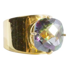 Lilly Band Ring in 18k Gold Pronged Mystic Topaz Cushion Gemstone