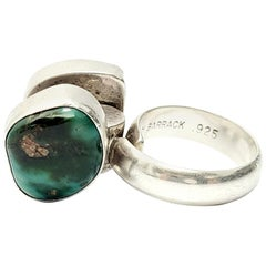 Lilly Barrack Sterling Silver Turquoise and Malachite Ring