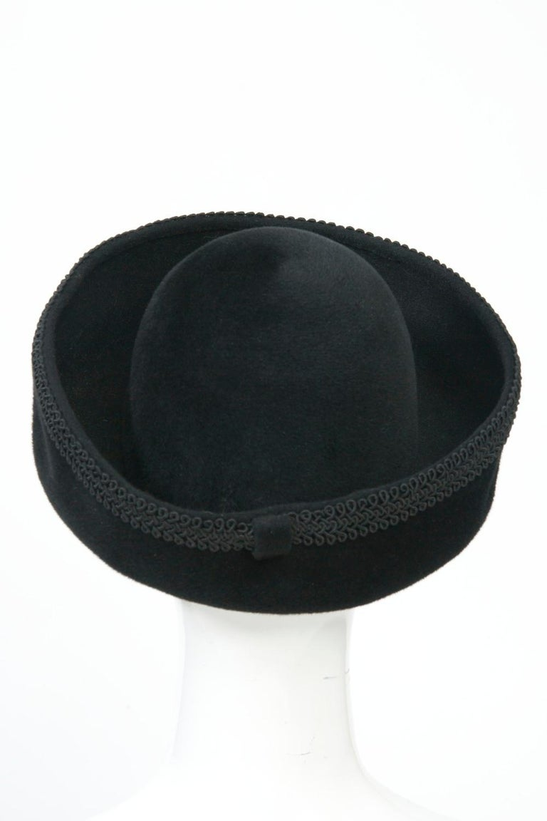 Lilly Daché Black Velour Hat In Good Condition For Sale In Alford, MA