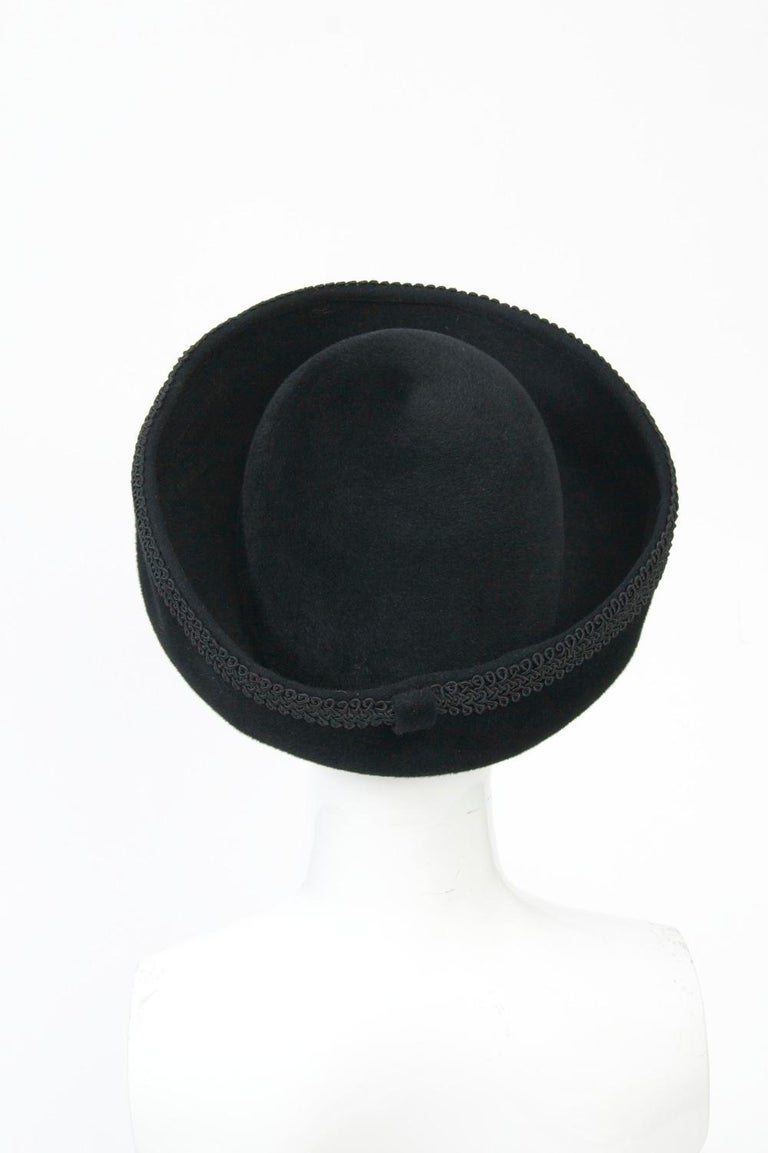 Women's Lilly Daché Black Velour Hat For Sale
