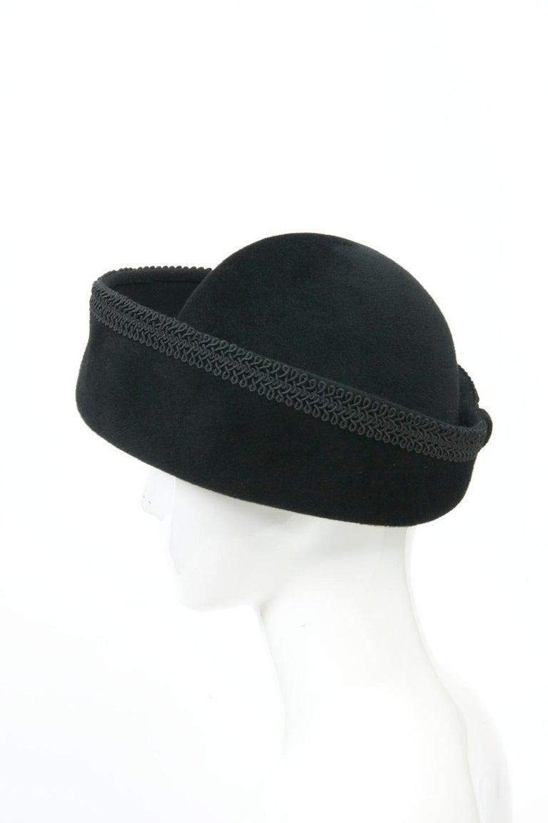 Lilly Daché Black Velour Hat For Sale 1