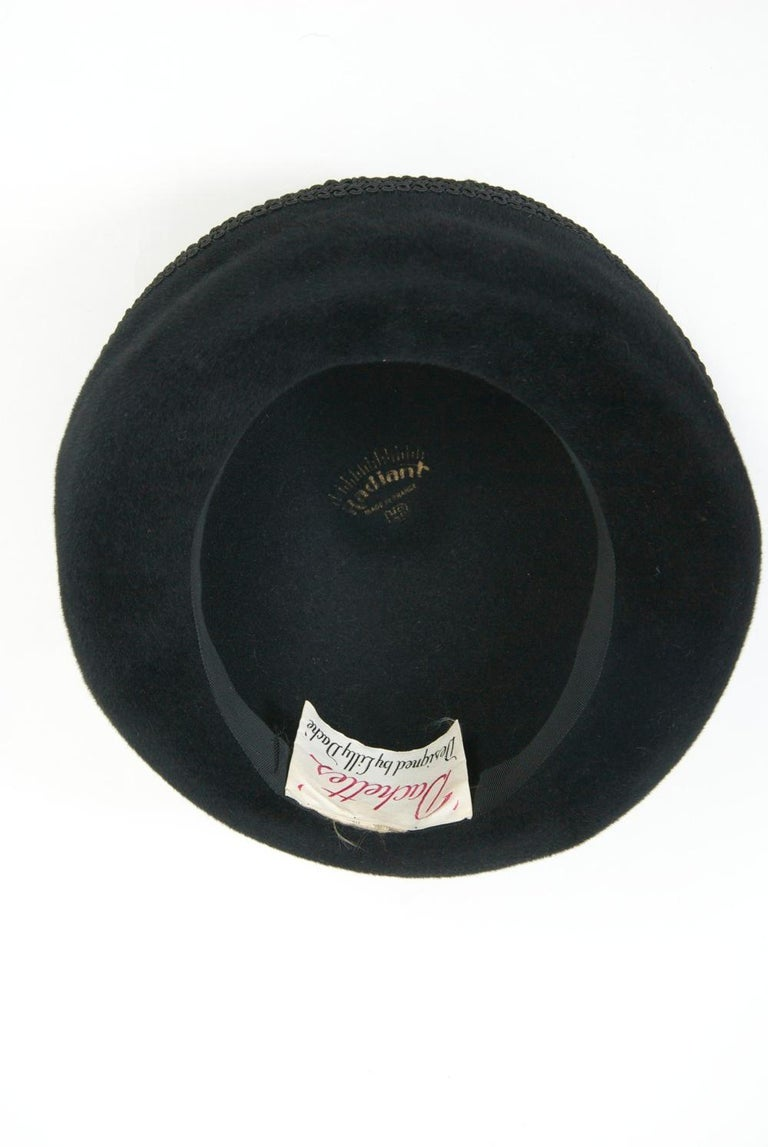 Lilly Daché Black Velour Hat For Sale 3