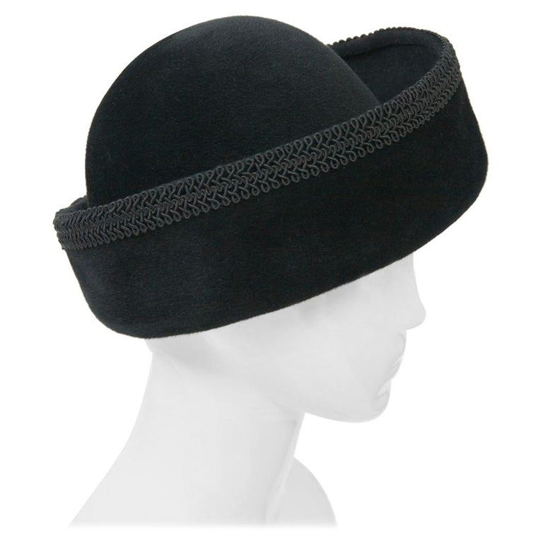 Lilly Daché Black Velour Hat For Sale