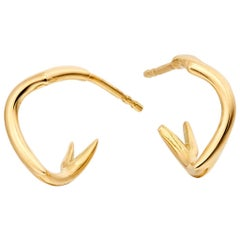 Coral Branch Mini Hoop Earrings 18 Karat Gold