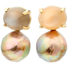 Moonstone and Ming Freshwater Pearl Earrings 18 Karat Gold