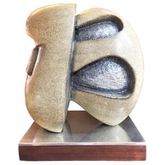 Lilly M. Tussey, Centurion, Limestone & Paint Abstract Sculpture, circa 1970s