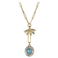 Lilly of the Valley and Opal Flower Pendant Necklace with Opal and Diamonds