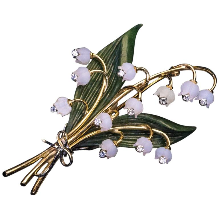 Lilly of the Valley Jade Rock Crystal Diamond Gold Vintage Brooch For Sale