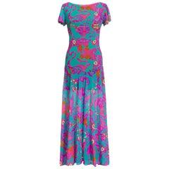 Lilly Pulitzer 1970s Vintage Printed Sheer Nylon Backless Maxi Dress
