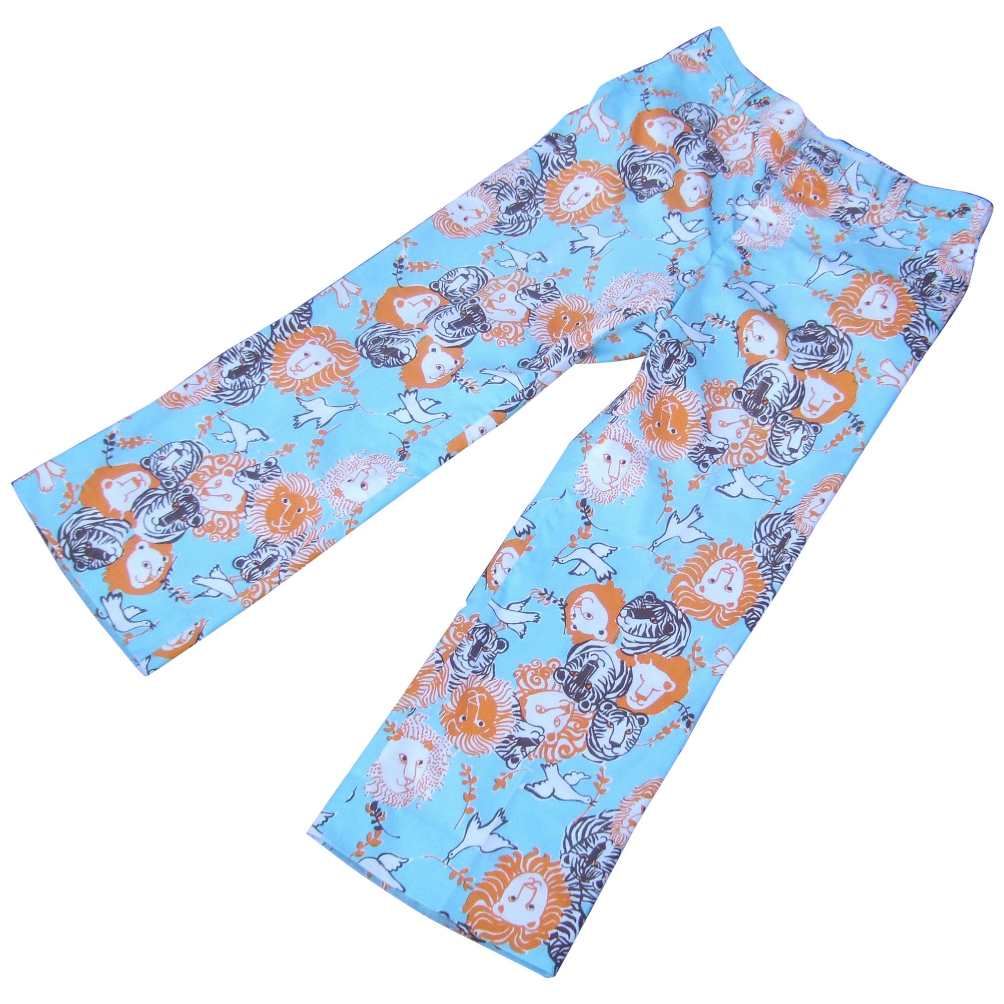 Lilly Pulitzer Mens Whimsical Feline Print Resort Trousers c 1970s
