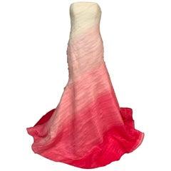 Lilly Pulitzer Silk Organza White to Shocking Pink Evening or Wedding Dress