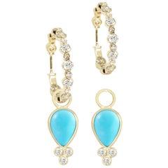 Lilly Sleeping Beauty Turquoise 18 Karat Gold Earrings