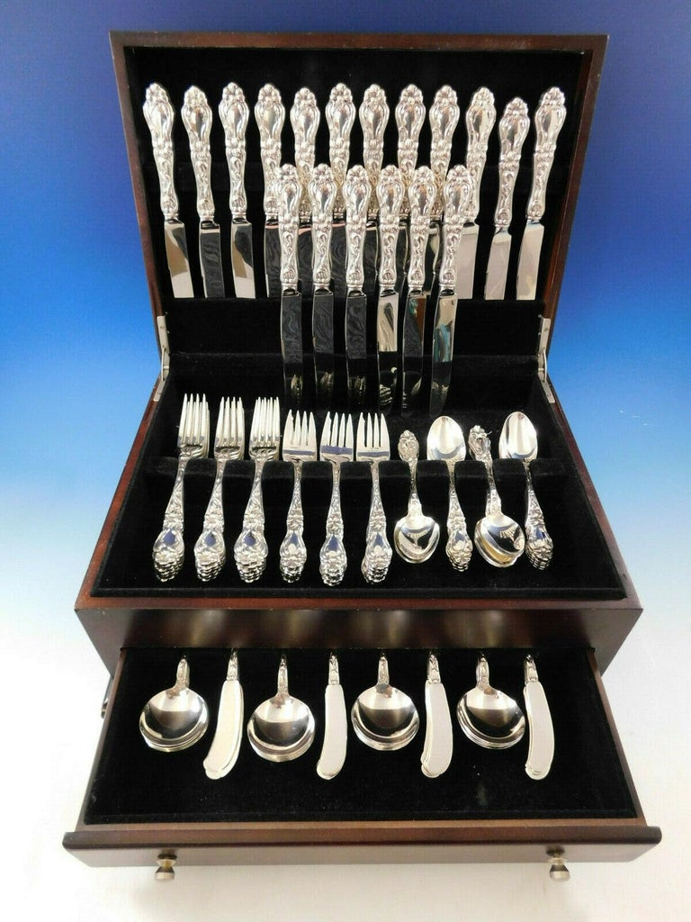 Monumental Lily AKA Floral by Frank Whiting sterling silver Flatware set - 108 pieces. This popular pattern was introduced in the year 1910. This set includes:  18 knives, wide handles, 9