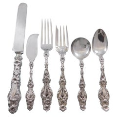 Lily by Whiting Sterling Silver Flatware Set for 12 Service 75 Pieces S Monogram