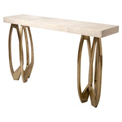 Lily Console in Cream Shagreen & Bronze-Patina Brass by R&Y Augousti
