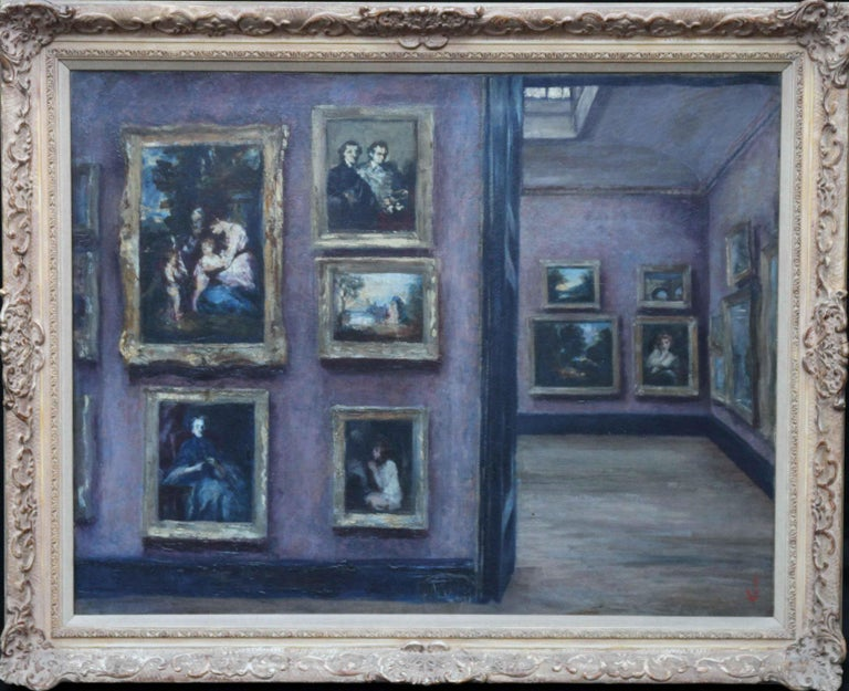 Lily Delissa Joseph Interior Painting - The National Gallery - British exh art 1920's oil painting Suffragette artist