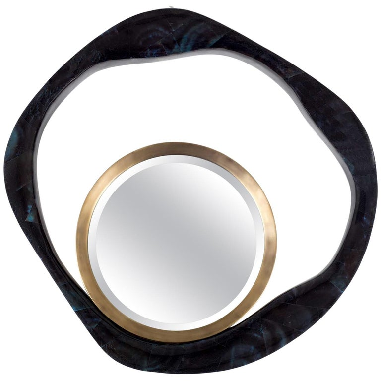 Lily Mirror Large in Blue Pen Shell and Bronze-Patina Brass by R&Y Augousti For Sale