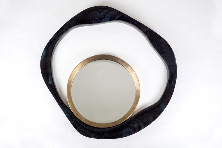Hand-Crafted Lily Mirror Medium in Black Pen Shell & Bronze-Patina Brass by R&Y Augousti For Sale