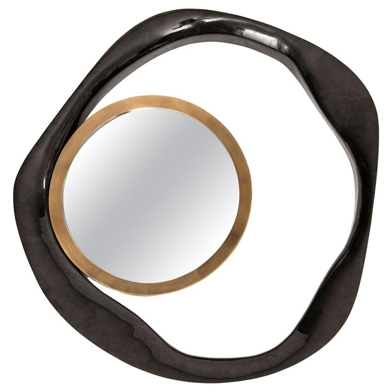 Lily Mirror Medium in Black Pen Shell & Bronze-Patina Brass by R&Y Augousti For Sale