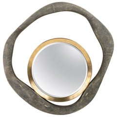 Lily Mirror Medium in Black Shagreen and Bronze-Patina Brass by R & Y Augousti
