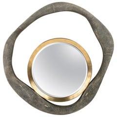 Lily Mirror Medium in Black Shagreen and Bronze-Patina Brass by R & Y Augousti