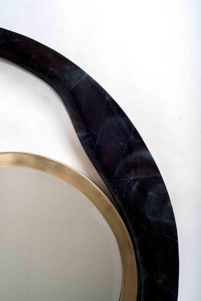 Hand-Crafted Lily Mirror Medium in Black Shagreen and Bronze-Patina Brass by R&Y Augousti For Sale