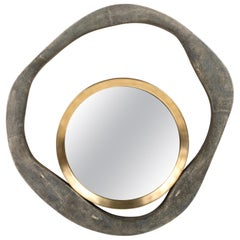 Lily Mirror Medium in Black Shagreen and Bronze-Patina Brass by R&Y Augousti