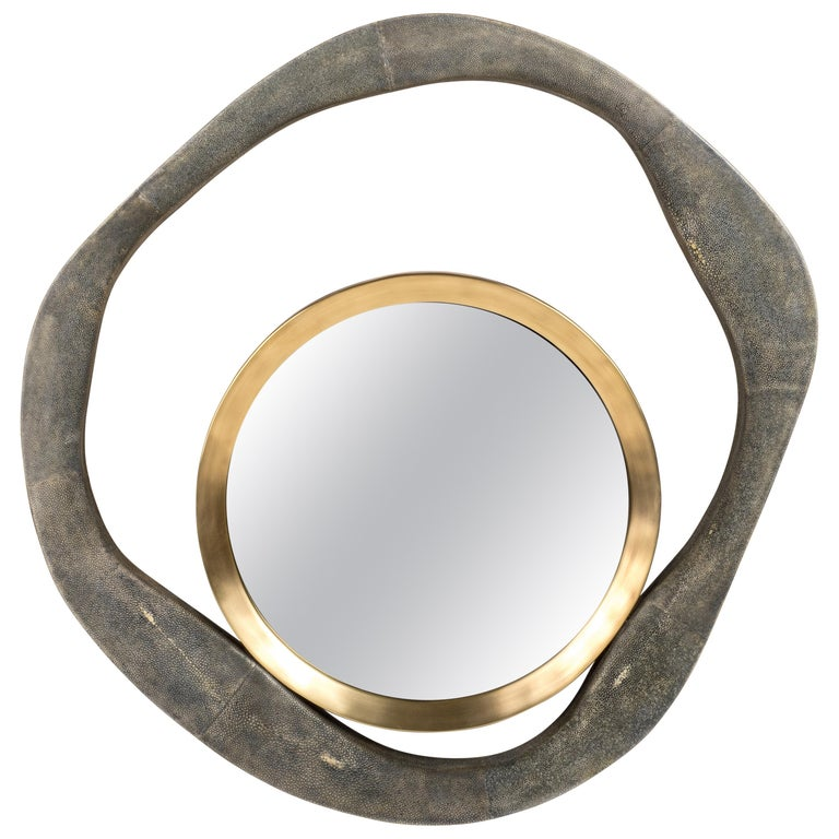 Lily Mirror Medium in Black Shagreen and Bronze-Patina Brass by R&Y Augousti For Sale