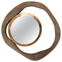 Lily Mirror Medium in Brown Shagreen and Bronze-Patina Brass by R&Y Augousti