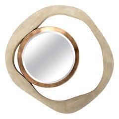 Lily Mirror Medium in Cream Shagreen and Bronze-Patina Brass by R&Y Augousti