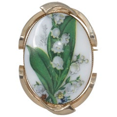 Lily of the Valley Painted Cameo Style Pin Brooch Pendant in Goldtone Frame