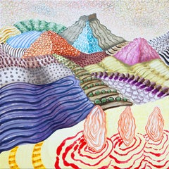 American Beauty, 12, bright multicolored surreal landscape painting, mountains